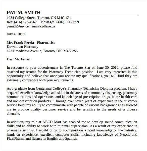Sample Reference Letter For Pharmacy Technician - Compudocs.us