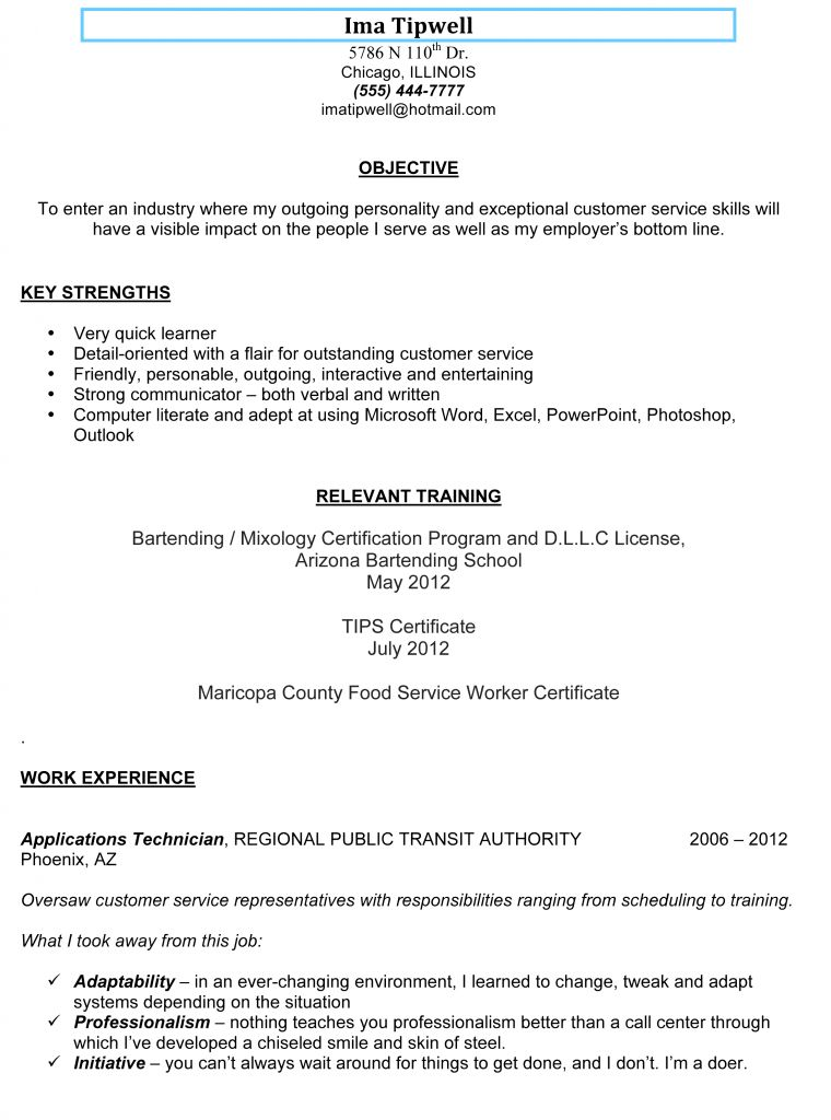 Bartending Resumes - Resume Example
