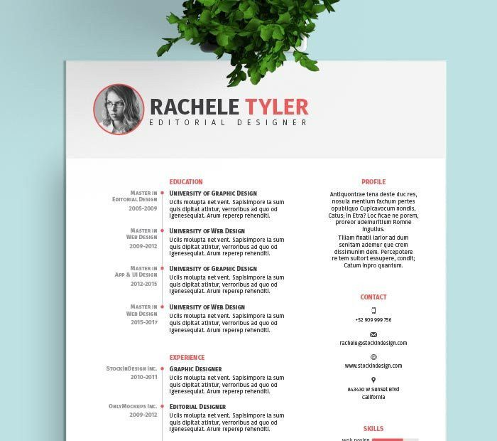 resume templates indesign 20 beautiful free resume templates for