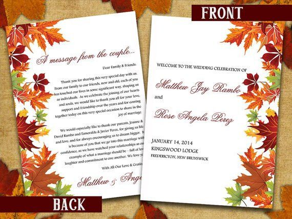 Half Fold Wedding Program Template Microsoft Word | Autumn Leaves ...
