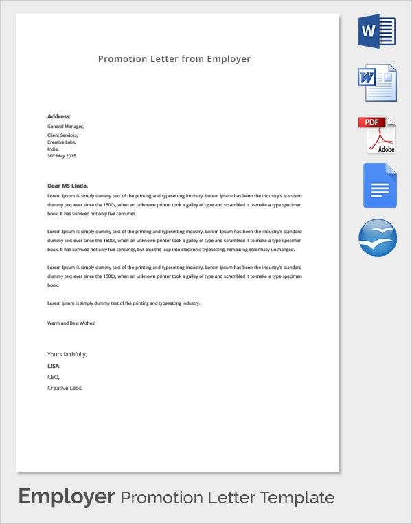 Sample Letter Of Promotion From Employer To Employee | Docoments ...