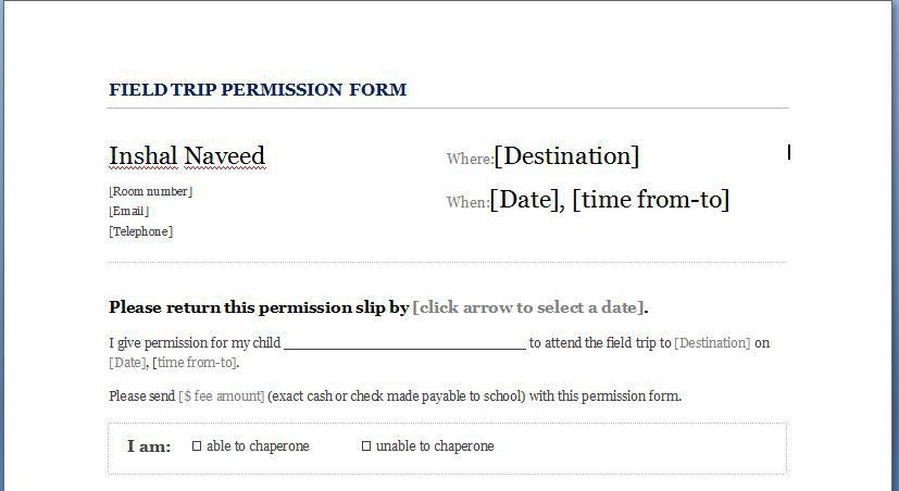 School Field Trip Permission Form for Students | Formal Word Templates
