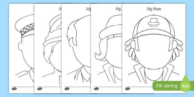 Who Help Us Themed Blank Face Templates Activity