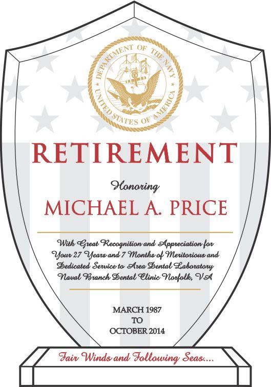 Navy Retirement Recognition Award (#330-3) | Wording Ideas | DIY ...