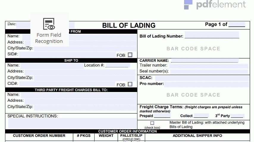 Bill of Lading Form Template: Free Download, Create, Fill, Print