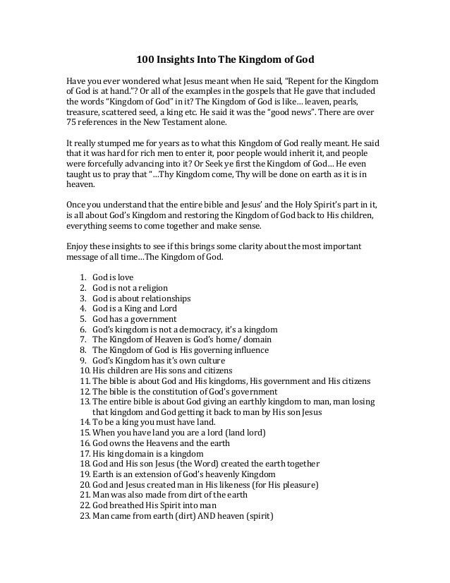 100 Insights into the Kingdom of God