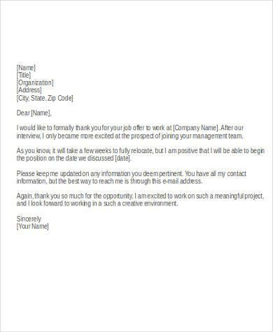 Thank You Letter For Job Offer. Professional Job Offer Acceptance .