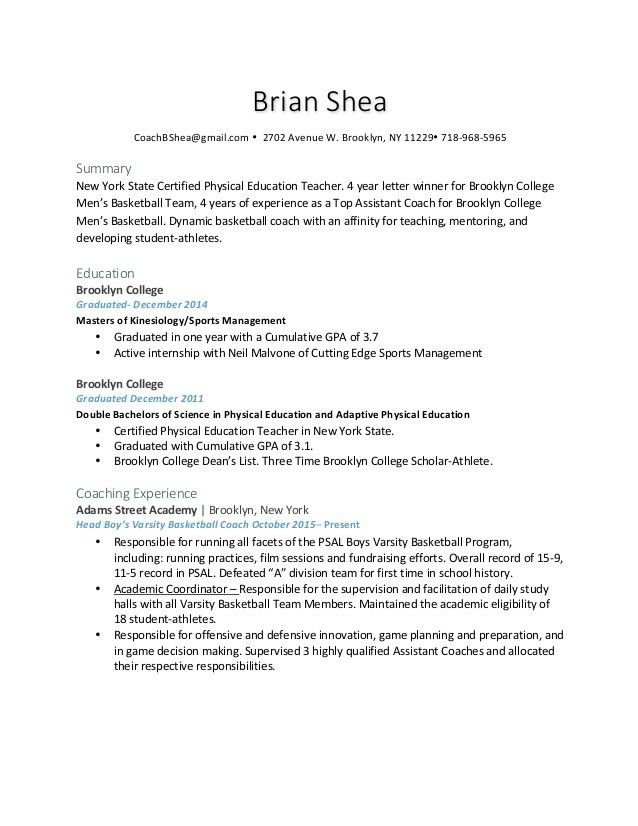 Brian Shea Coaching Resume