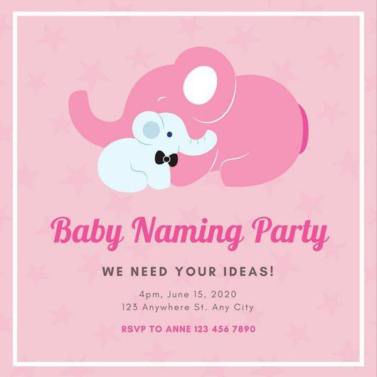 Pink and White Baby and Mother Elephant Baby Naming Ceremony ...