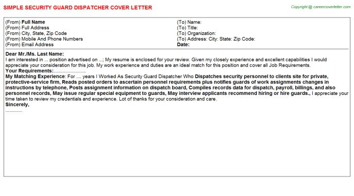 Security Guard Dispatcher Cover Letter