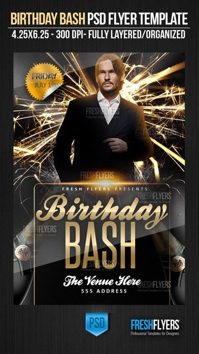 Birthday Bash PSD Flyer Template - Flyer Templates - Flyer ...