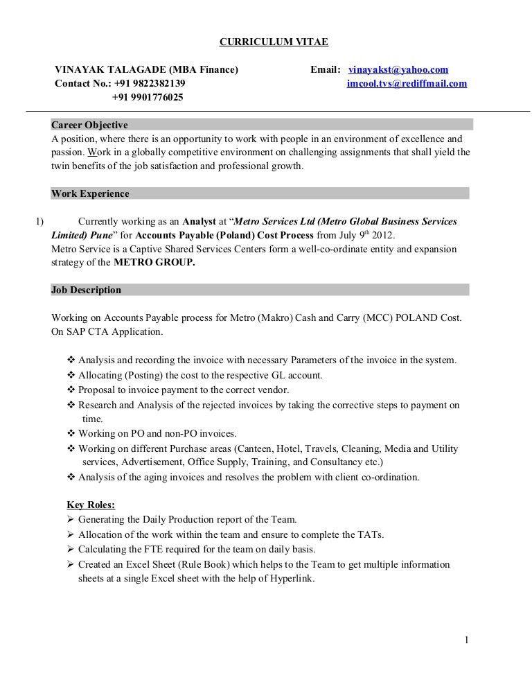 Accounts Payable Job Description. Vinayak Talagade Mba (Fin .