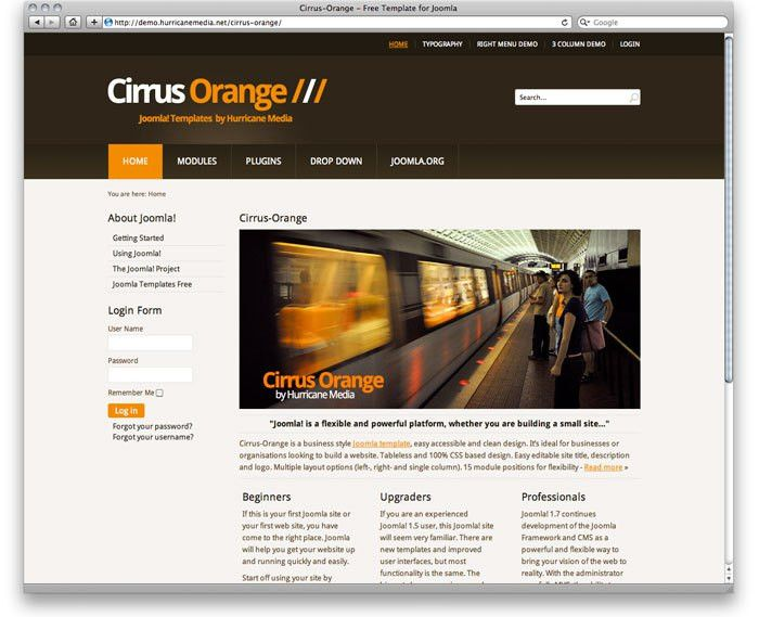 Cirrus-Orange - Free Template for Joomla 2.5 - Brown, Orange