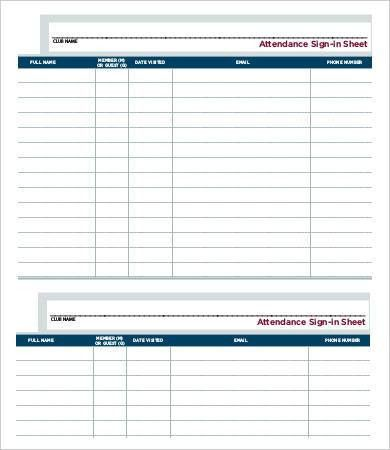 Attendance Sign In Sheet Template - 9+ Free Word, PDF Documents ...