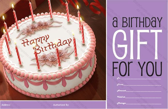 Cake Birthday Gift Certificate Template - Gift Certificates