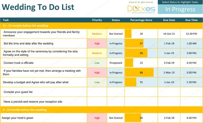 28+ Wedding List Of Things To Do Template | Doc 9001165 Things To ...