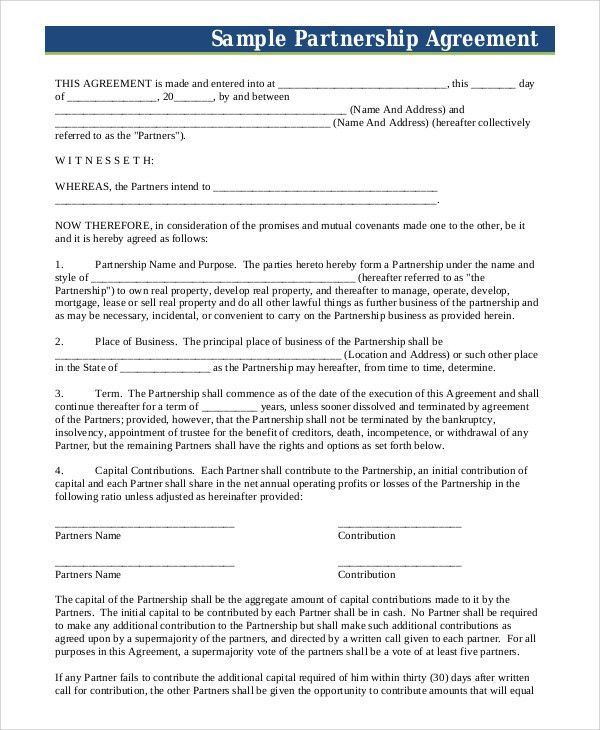 Sample Business Partnership Agreement - 7+ Examples in PDF, Word