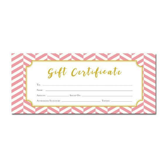 Pink and Gold Chevron Gift Certificate Download, Premade Gift ...