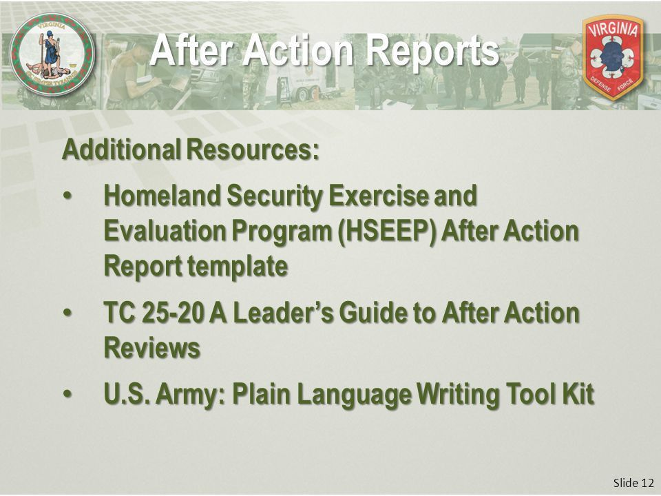 Slide 1 After Action Reports Professional Military Education Basic ...