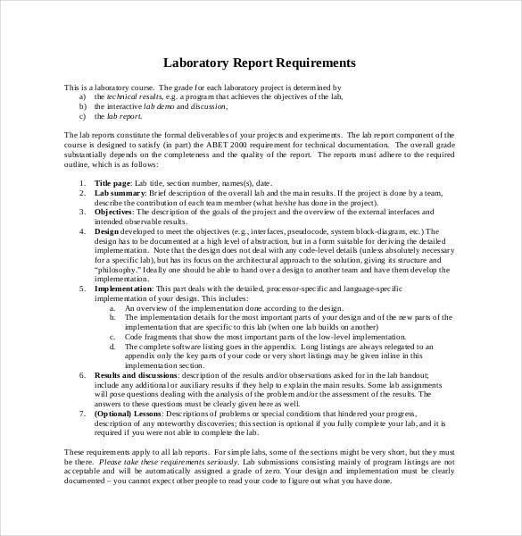 Lab Report Template - 24+ Free Word, PDF Document | Free & Premium ...