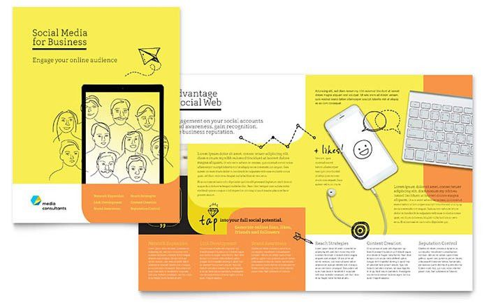 Social Media Consultant Brochure Template - Word & Publisher
