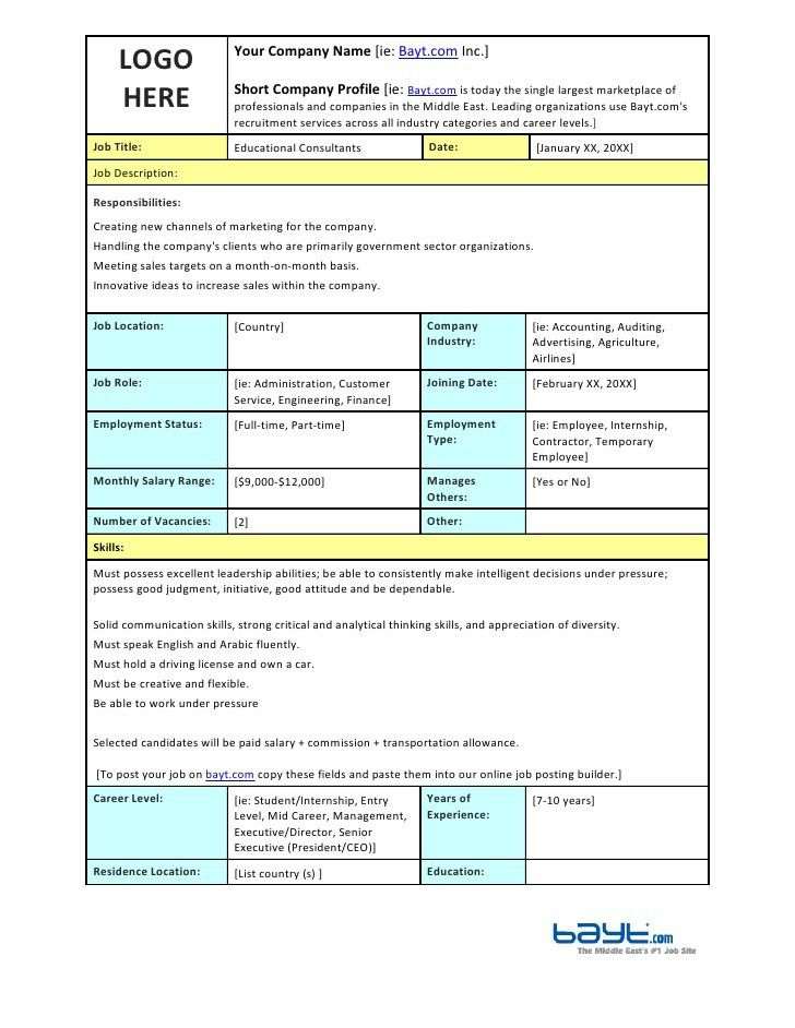 Educational Consultants Job Description Template by Bayt.com