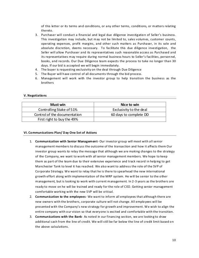 Letter of intent (LOI) to buy a mid size manufacturing firm