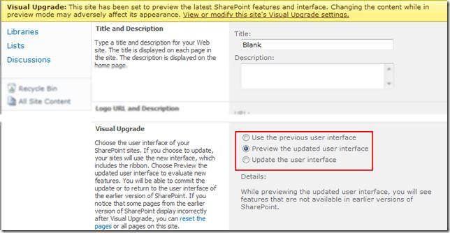 Tip 38: SharePoint 2010 Enable Visual Upgrade on Sites with ...