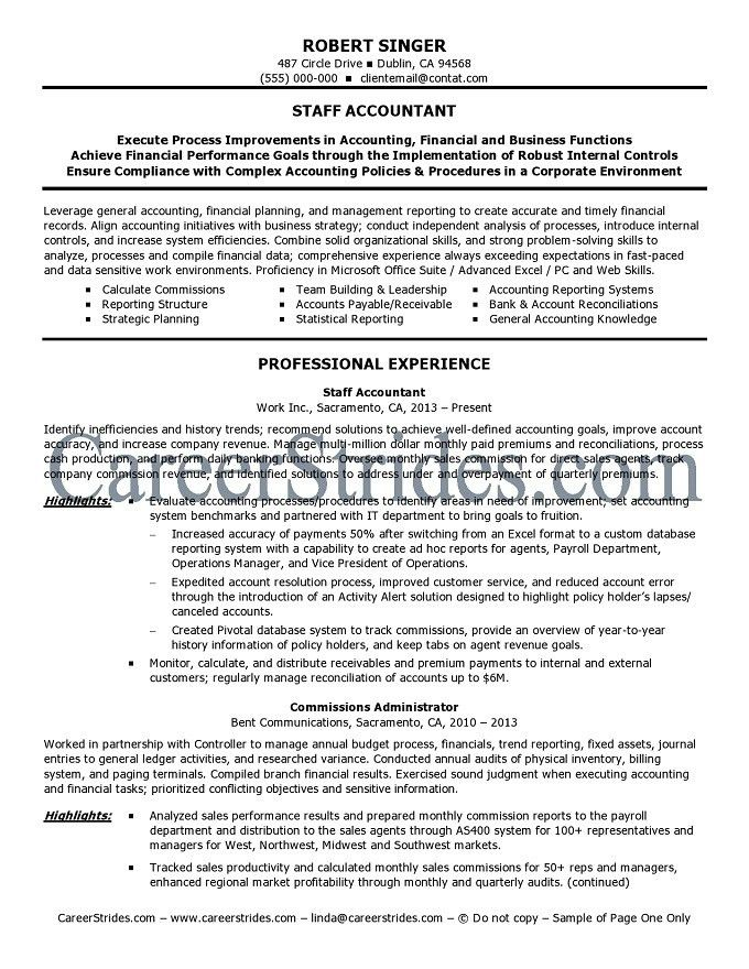 Staff Accountant Resume Objective - formats.csat.co