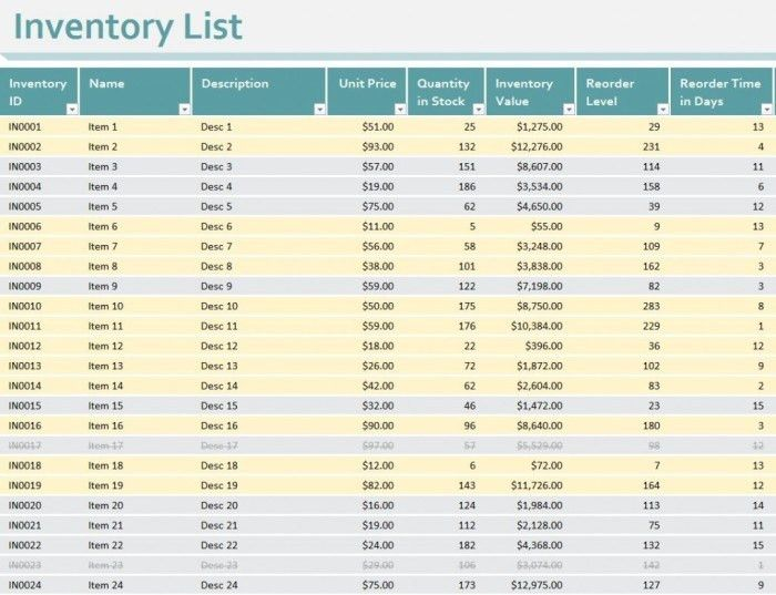Printable Business Product Stock Inventory List Control Template ...