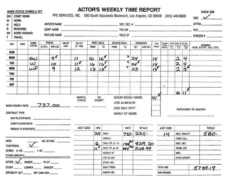 Entertainment Payroll - Sample Timecards - Media Services