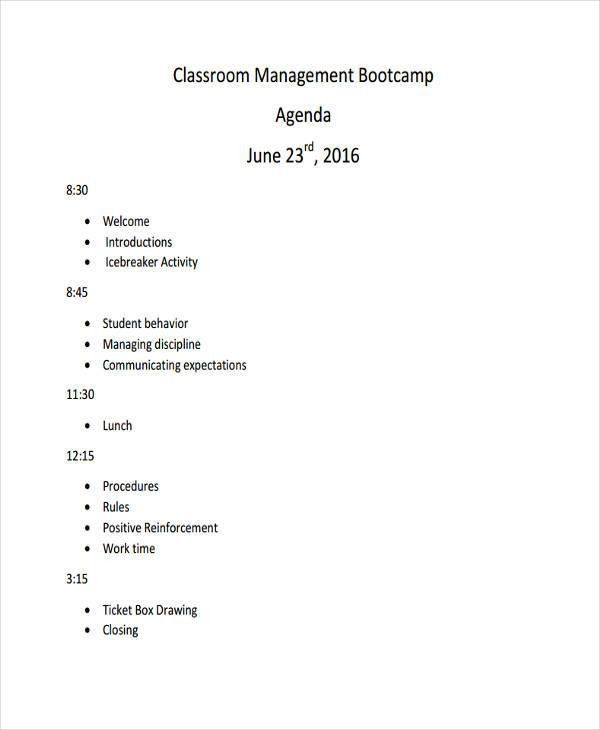 10+ Classroom Agenda Examples - Free Sample, Example Format ...