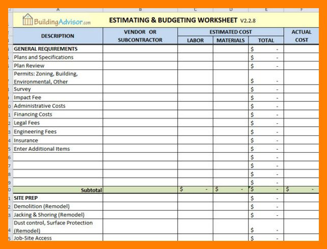 10+ construction estimate template | article examples