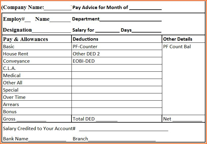 8+ salary slip in word format | Simple salary slip