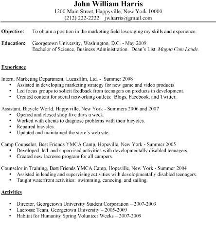 Resume Template For College Students. Undergraduate Student Resume ...