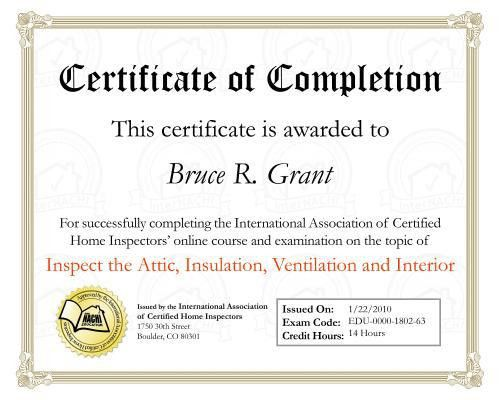 Home Inspection Specific Training Certificates | Muskoka Home ...