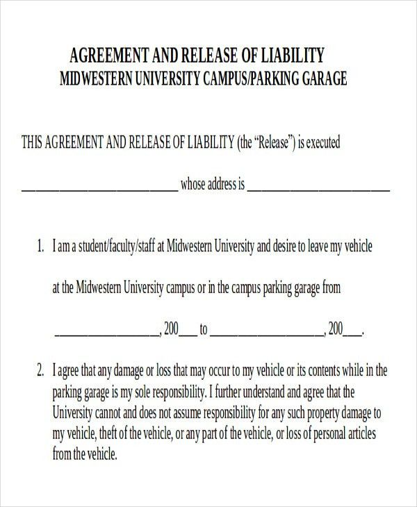 Release Of Liability Agreement Release Of Liability Form Waiver Of