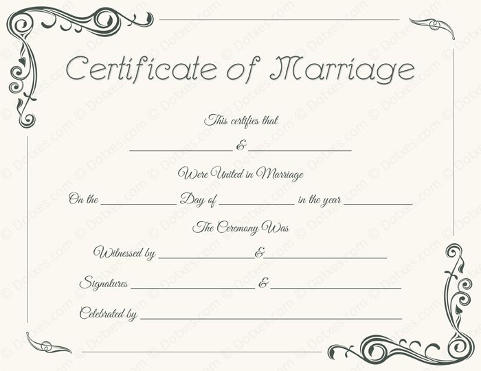 Marriage Certificate Template Microsoft® Word - Dotxes