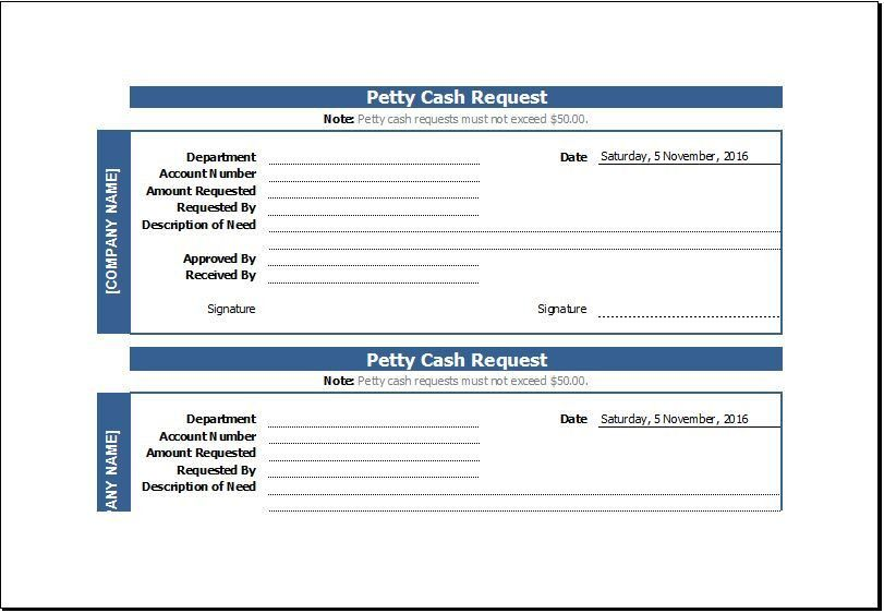 Petty Cash Request Slip Sample Template | Word Document Templates