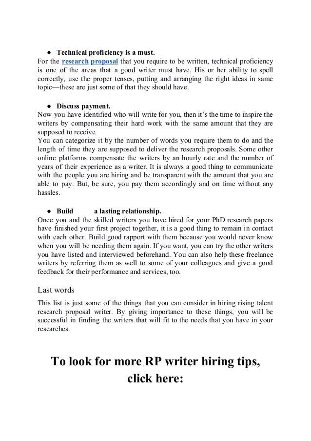 How To Hire A Rising Talent Research Proposal Writer?