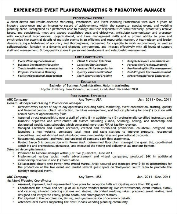 event planning resume planner resume event planner free resume