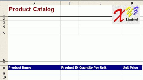 Free Excel Report Template - Product Catalog
