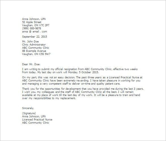 Nursing Resignation Letter Template – 6+ Free Word, Excel, PDF ...