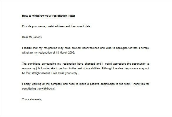 Resignation Letter : Letter Of Retraction Of Resignation ...