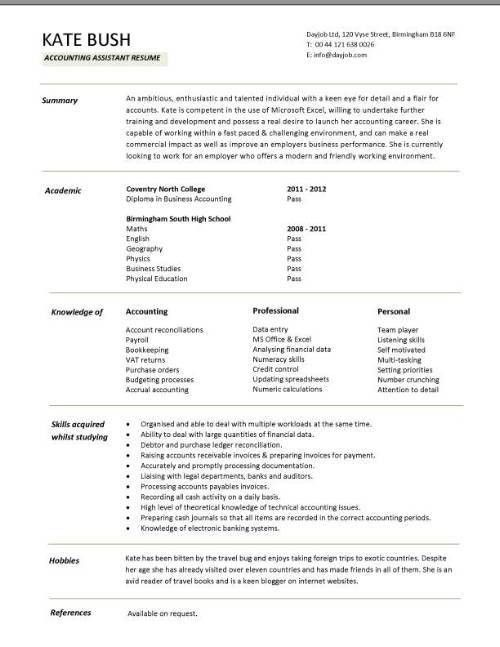assistant accountant CV, Sales and purchase ledger, Cash ...