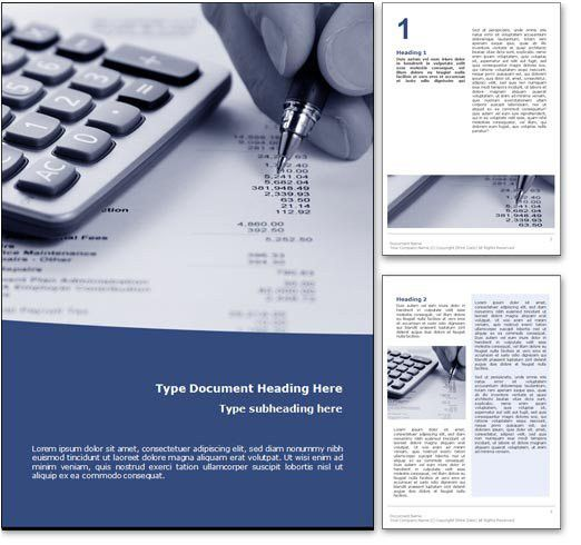 Royalty Free Accounting Microsoft Word Template in Blue