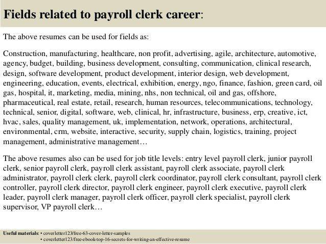 Payroll Clerk Job Description. Clerical Cover Letter Templates ...