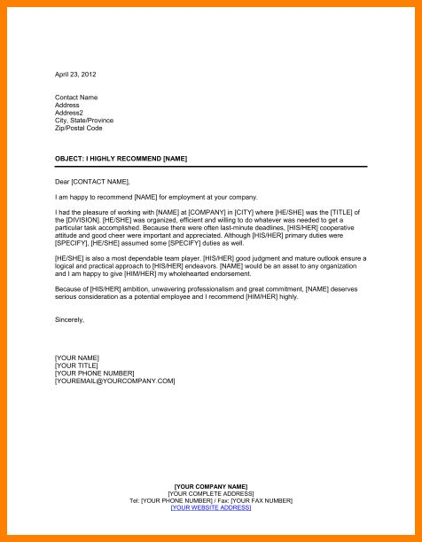 4+ employment referral letter - mail clerked