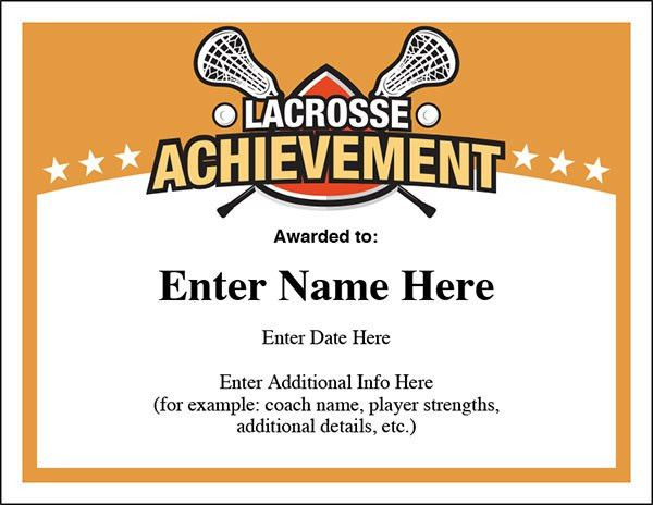 Lacrosse Award Certificates Templates | NEW for boys and girls