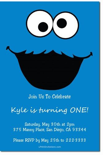 Sesame Street Cookie Monster Birthday Party Invitations - Get ...